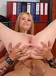 Amber Daikiri office hottie locks a hard meatpole in her tight slippery ass