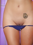 Brett Rossi takes off her purple lingerie